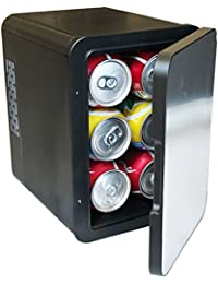 Stainless Steel Front Portable 6 Can Mini Fridge Car Cooler / Warmer 4L w/ Removable Shelf Great for Home, Office, Travel, Car, RV, Boat, BBQ, AC & DC 12V/110V (Stainless Steel)