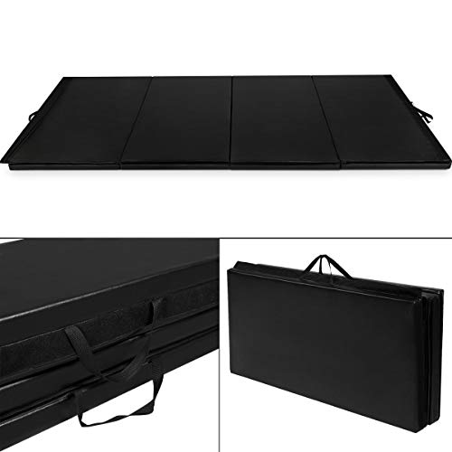 Giantex 4'x10'x2 Gymnastics Mat Folding Panel Thick Gym Fitness Exercise (Black)