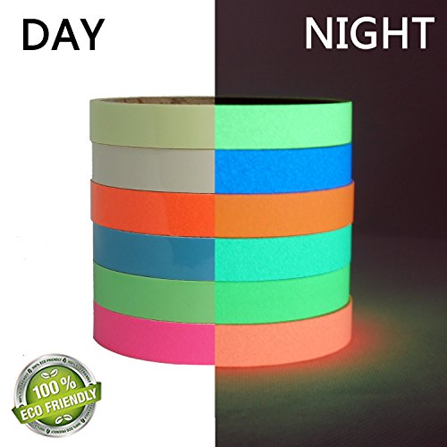 - 6 Packs Luminous Tape Sticker 10 feet x 0.6 inch Glow in the Dark Tape Self-adhesive ,Premium Quality Glow Tape Perfect for safety egress markers stairs, walls, steps, exit sign, theatre stage floor