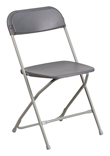 Flash Furniture 10 Pk. HERCULES Series 800 lb. Capacity Premium Grey Plastic Folding Chair (Chairs Folding 10)