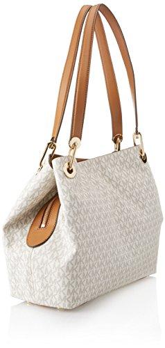 f074e5faaccacb Michael Kors Raven Logo Shoulder Bag (Signature Vanilla) - Import It All