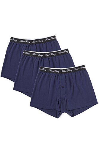 Fishers Finery Mens Ultra Comfort Soft Knit Cotton Boxers; 3 Pack (Navy, -
