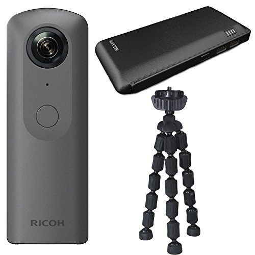 Ricoh THETA V 360 4K Spherical VR Camera with Power Bank and Tripod Bundle by Focus Camera