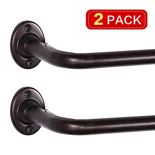 Wrap Around Curtain Rod Bronze Adjustable Single Window Curtain Rod Ideal for Blackout/Room Darkening Curtains, 48 Inch - 86 Inch, 2 Pack, Bronze