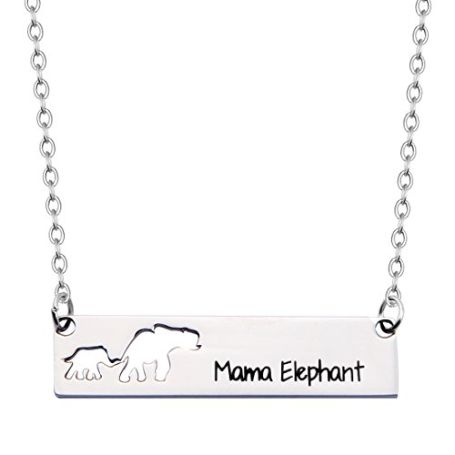 Family Mother Daughter Elephant Necklace