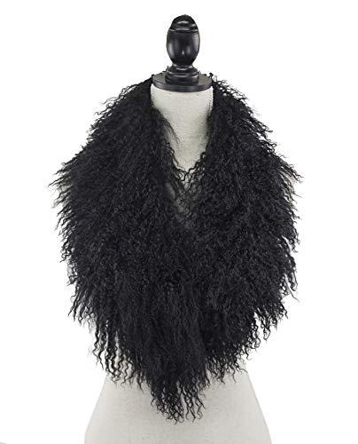 StylesILove Mongolian Lamb Fur Ultra Soft Collar Scarf - 4 Colors (Black)
