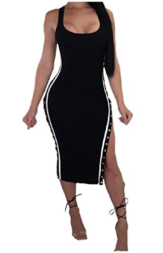 Mini Line Dress Out Sleeveless Package Women Hip Low Coolred Black Button A 8zwpqCnB