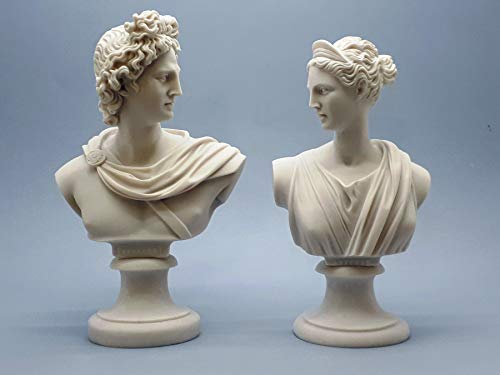 (Set 2 Busts God Apollo & Goddess Artemis Diana Greek Cast Marble Sculpture)