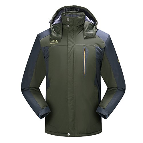 Men's Winter Waterproof Fleece Lined Ski Jacket Windproof Snow Rain Jackets Coats Outerwear