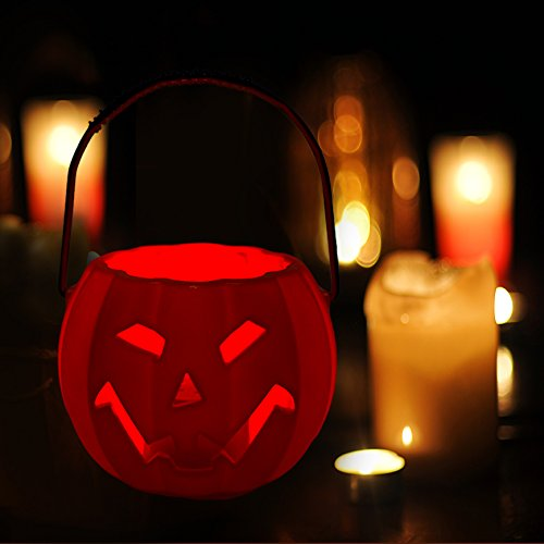 MACTING Portable Plastic Smile Cute Pumpkin LED Lights Make Noice Gift Candy Bucket Bag for Halloween Party Decor, Trick Or Treat, 3.3