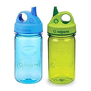 Nalgene Grip-N-Gulp Kids / Children's 12oz Water Bottles - Multi-Color Bundle Pack of Two Bottles. Each bottle is 7.5 Inches Tall by 3 Inches in Diameter (Blue and Green)