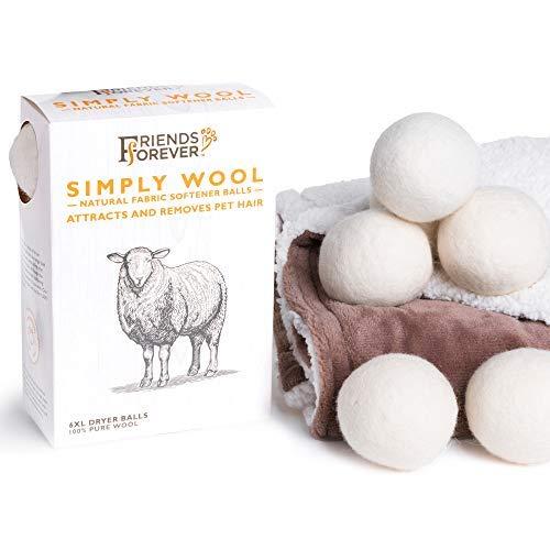Friends Forever Wool Dryer Balls 6-Pack XL Size - Premium Reusable Natural Fabric Softener Balls, Pet Fur Hair Remover