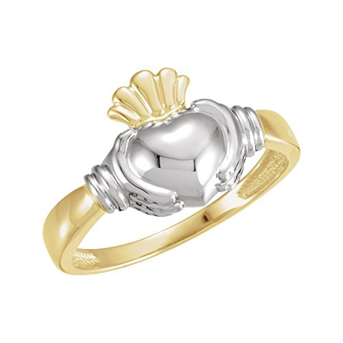 18k Two-Tone Gold (Yellow/White) Men Gents Claddagh Ring - Size 11