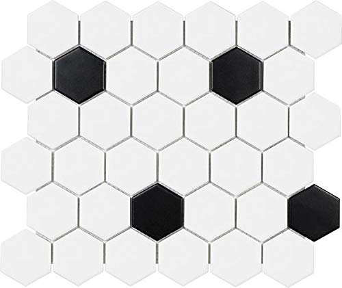 10 Sq Ft Box - 2 Inch Black and White Glazed Porcelain Hexagon Mosaic Tiles by Rocky Point Tile