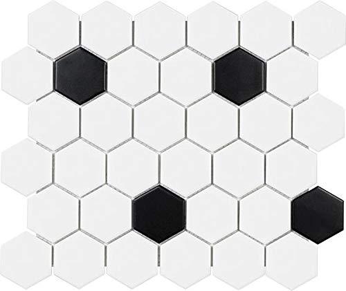 - 9.3 Sq Ft Box - 2 Inch Black and White Glazed Porcelain Hexagon Mosaic Tiles