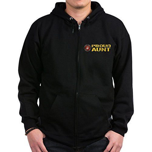 CafePress USMC: Proud Aunt - Zip Hoodie, Classic Hooded Sweatshirt with Metal Zipper -