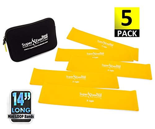 """Super Exercise Band 5 Pack 14"""" x 3"""" Extra Long Yellow X Ligh"""