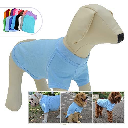 (Lovelonglong 2019 Pet Clothing Dog Costumes Basic Blank T-Shirt Tee Shirts for Small Dogs Light-Blue)