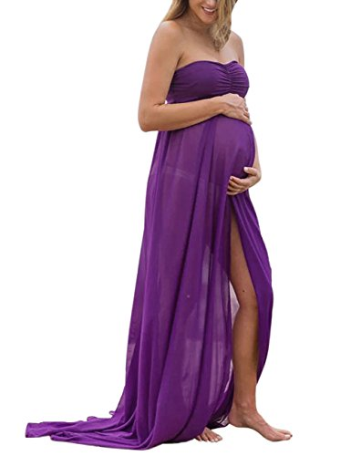 MissQee Maternity Dress Off Shoulder Chiffon Maxi Photography Dress For Photo Shoot M Purple