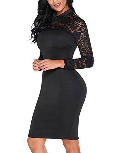 Sidefeel Women High Neck Floral Lace Long Sleeve Club Bodycon Midi Dress