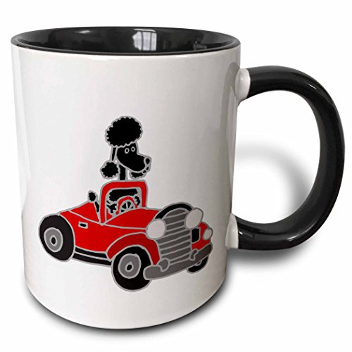 3dRose All Smiles Art Dogs - Funny Black Poodle Driving Red Convertible Car - 11oz Two-Tone Black Mug (Red Poodle)