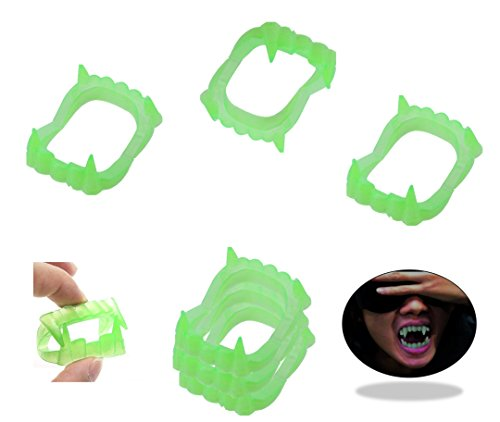 Play Kreative GLOW-IN-THE-DARK Halloween Vampire Fangs - Halloween Plastic Teeth Party Favors,pack of 144 ()