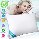 Kindak Bed Pillow, Bed Pillows White Hypoallergenic Dust Mite Resistant with Zipper Adjustable Loft Shred Fiber, Reading Bed Rest Pillows Down for Home Hotel Collection Sleeping Bedding (Bed Pillow)