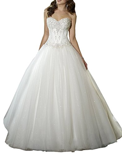 Mylilac Women's Sweetheart Beaded Corset Bodice Classic Tulle Wedding Dress