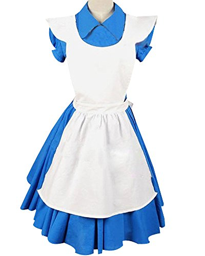 SIDNOR Alice in Wonderland Movie/Film Blue Cosplay Costume Outfit Suit Maid Dress -