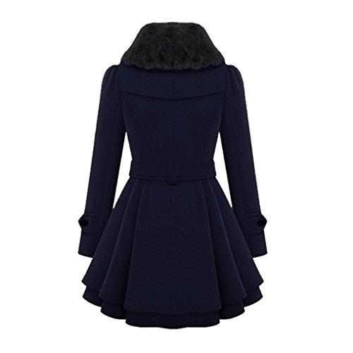 para KaloryWee Cálido Azul de Trenca Chaqueta Trenca Grueso Largo Parka Delgada Mujer Mujer Abrigo Invierno aq7FZq