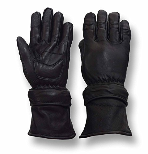 Vance Leathers Men's Deerskin Gauntlet Motorcycle Gloves W/Removable Cuff - (Mens Padded Leather Gauntlet Gloves)