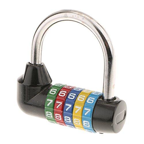 Color Lock - MonkeyJack Zinc Alloy 5 Dial Digit Combination Padlock Code Password Lock for Travel - Black
