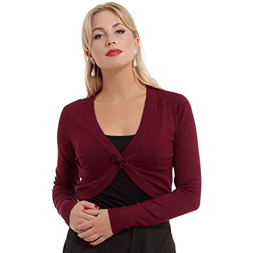 Womens-Voodoo-Vixen-Elle-Cropped-Bolero-Cardigan-With-Front-Bow-Burgundy