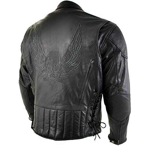 Xelement B96333 'Flying Mayhem Skull' Mens Black Leather Motorcycle Jacket with X-Armor Protection - Large
