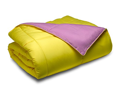 Cozy Beddings Reversible Down Alternative 2 Piece Comforter Set, Twin/Twin XL, Purple/Yellow