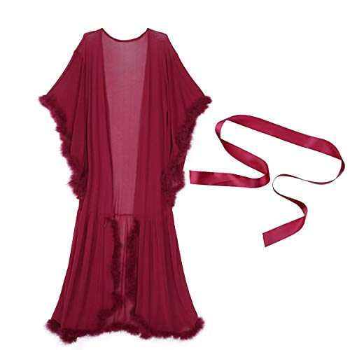 dPois Womens Sexy Illusion Feather Flare Sleeve Long Bathrobe Nightgown Babydoll Sleepwear Wine Red One Size