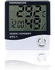 LAQI Misuratore di Temperatura Termometro Igrometro Display LCD Digitale per Interni Sala Esterna Temperatura Elettronica umidità Stazione Meteo Sveglia