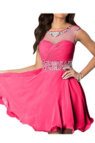 Mini Bride Gorgeous Pink Abendkleider Chiffon Zaertlich Cocktailkleid A-linie Partykleid Tuell