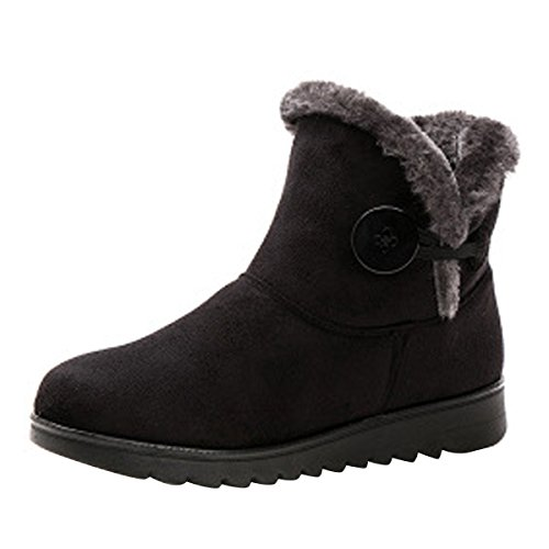 VFDB Women Winter Botton Snow Ankle Boots Fur Warm Platform Slip On Booties (Womens Casual Winter Boots)