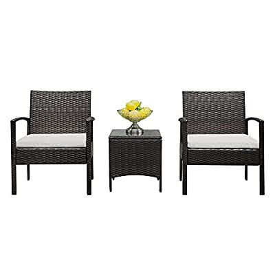 Lovinland Patio Furniture 3 Piece Rattan Outdoor Furniture Table Sofa Conversation Set with Cushion and Tempered Glass Tabletop for Pool Garden Lawn Backyard Balcony (Brown & Gray Cushion)