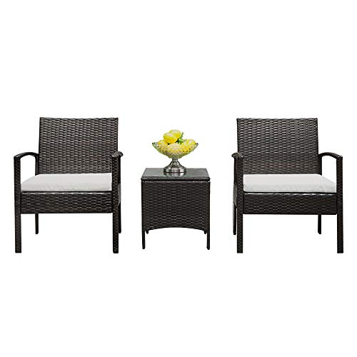 Lovinland Patio Furniture 3 Piece Rattan Outdoor Furniture Table Sofa Conversation Set with Cushion and Tempered Glass Tabletop for Pool Garden Lawn Backyard Balcony (Brown & Gray Cushion) (Breakfast Patio)