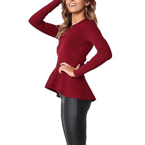 con sólido ZFFde de con color Red cremallera volantes Chaqueta tamaño en de larga capucha y Color delantera otoño L Invierno manga zIrfEIqn6