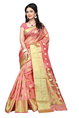 India Silk Sarees (Urban India Banarasi Silk Saree (Free Size, Peach))