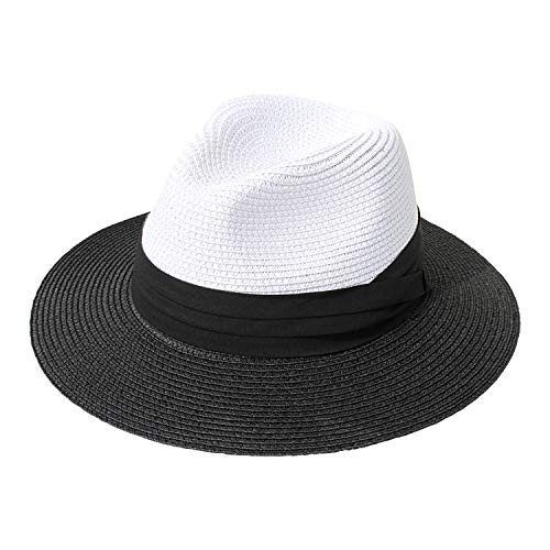 Striped Hat Floppy - DRESHOW Women Straw Panama Hat Fedora Beach Sun Hat Wide Brim Straw Roll up Hat UPF 50+ (Fedora White Black)
