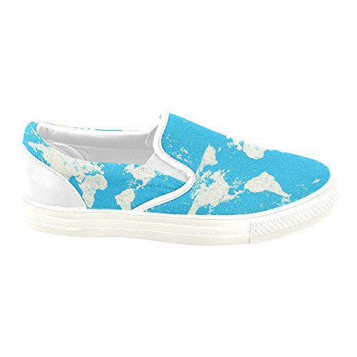 D-story Custom Sneaker Vintage World Map Donne Insolite Scarpe Di Tela Slip-on