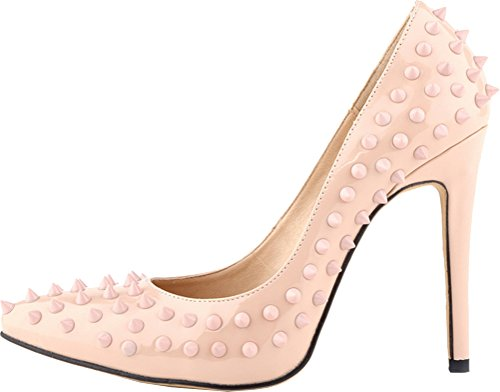 Salabobo Womens Sexy Pointed Toe Studded Pumps Nude 0JhjV