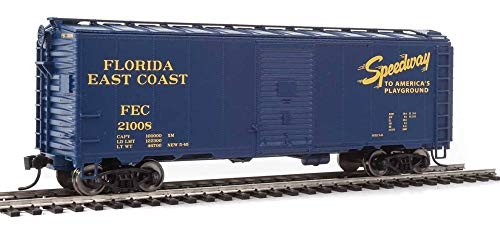 40' AAR MODIFIED 1937 BOXCAR - READY TO RUN -- FLORIDA EAST COAST 21008 (BLUE, YELLOW, SPEEDWAY TO AMERICA'S PLAYGROUND) (Modified 40' Aar Boxcar)