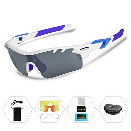Wongkuo Polarized Sunglasses Interchangeable Lenses for Cycling Running Fishing Driving Glasses