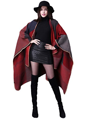 ADOMI Womens Winter Elegant Reversible Oversized Blanket Poncho Cape Shawl Cardigans Red-3