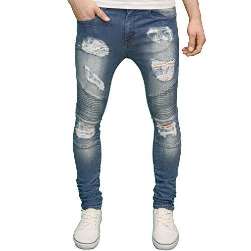526 Designer Stretch Super Skinny Ripped Abraised Distressed Cut Biker Jeans Stonewash 28W 32L